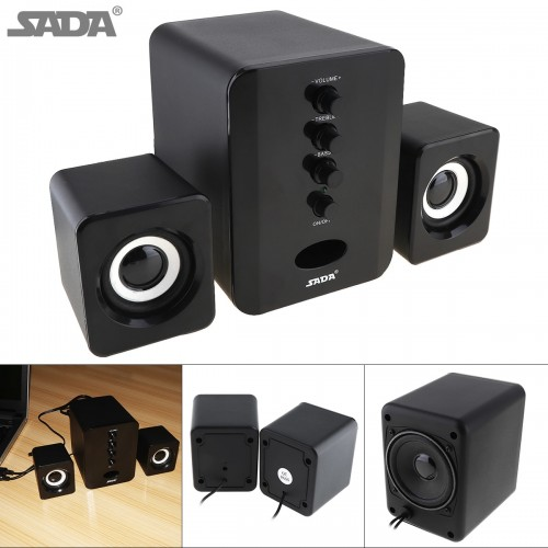 SADA 3D Stereo 2 1 Subwoofer Full Range Small Portable Bass PC Speaker Music DJ USB