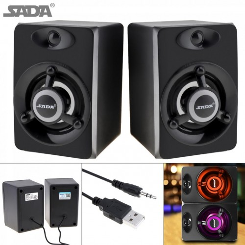 SADA 3D Stereo Subwoofer PC Speaker Portable bass Music DJ USB Computer Speakers For laptop Phone