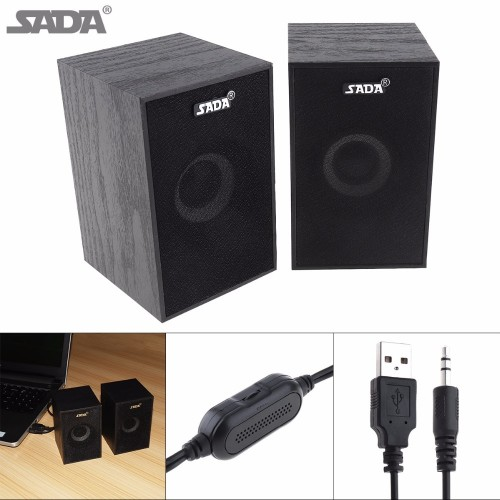 SADA Portable Wooden Form Full Range Subwoofer PC Bass Speaker Music DJ USB Computer Speakers Loudspeaker