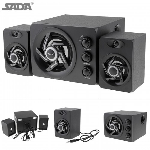 SADA wooden 3D Stereo Subwoofer Newest 100 Bass PC Speaker Portable Music DJ USB Computer Speakers