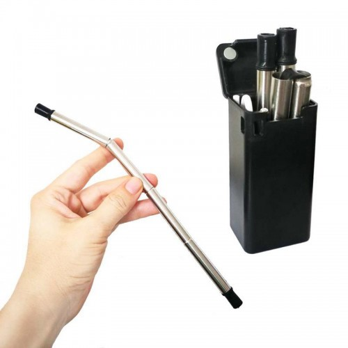Portable Straw Folding Silicone Three Fold Reusable Health Environmental Protection Straw Computer Cleaner