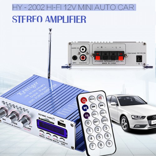 USB FM Audio Car Stereo Amplifier Radio Speaker LED