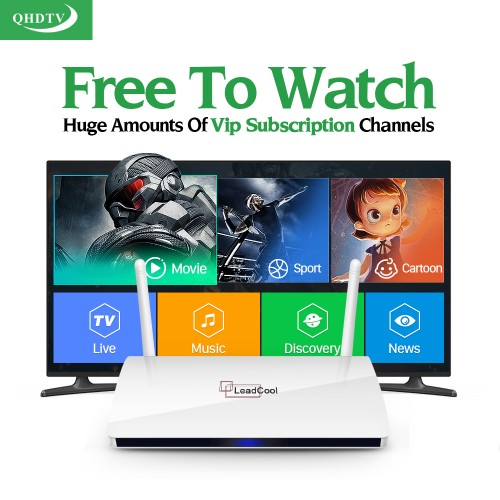 AMAZING Leadcool QHDTV IPTV Box 1 Year Subscription Europe French Italia 1300 Live Channels Android TV