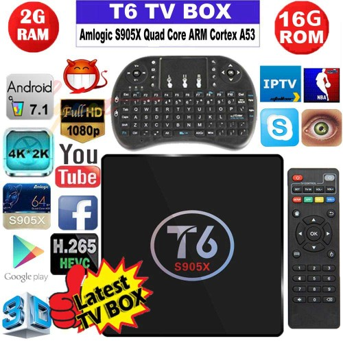 Original t6 tv box Android 7.1 smart TV Box Quad core
