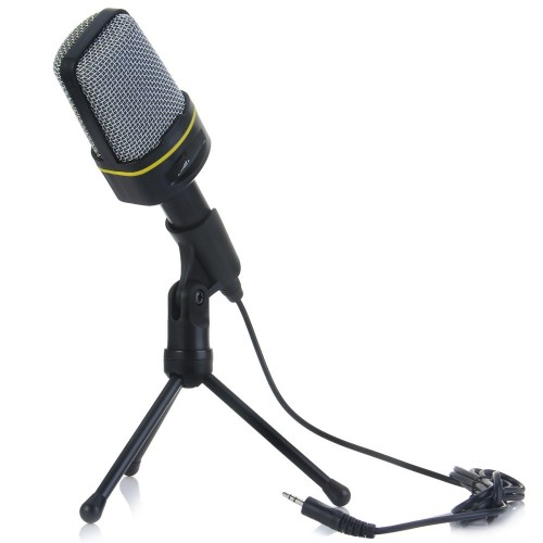 Condenser Sound Wired Microphone with Stand Holder Clip for PC Laptop Skype Recording