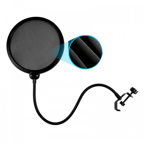 Flexible Microphone Pop Filter Windscreen Dual Layer Mask Shield Mic For Podcast Singing Record Microfone Gooseneck