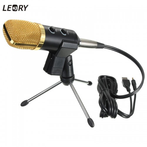 USB Microphone Condenser Kit Sound Studio Recording Wired Microphone Mic With Stand Mount For Braodcasting