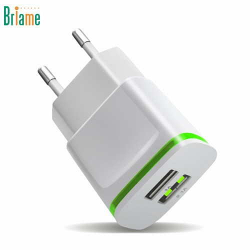 Briame LED 2 USB Charger EU Plug USB Adapter Mobile Phone Wall Charger