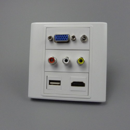 audio USB AV wall plate with back female to female connector