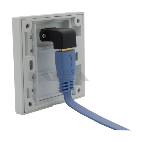 wall plate with angle side female to female connector support
