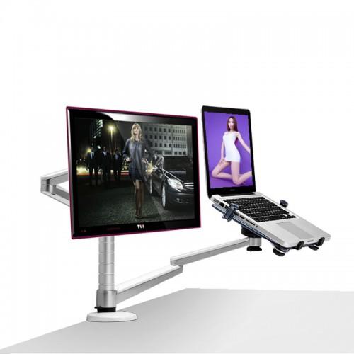 Multimedia Desktop Dual Arm LCD Monior Holder Laptop Holder Stand Full Motion
