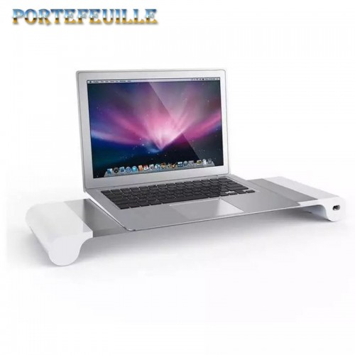 Portefeuille For Macbook Computer Desktop Stand Aluminum Alloy Monitor Mount Holder With USB Ports Charger