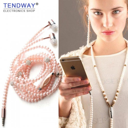 Pink girl Rhinestone Jewelry Pearl Necklace Earphones With Microphone Earbuds For Iphone Xiaomi Brithday Gift fone