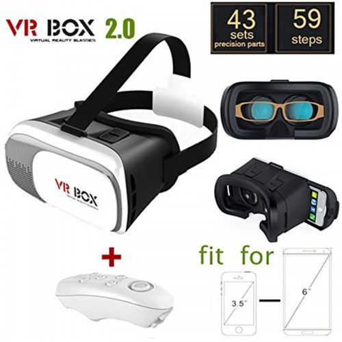VR Glasses 2.0 3D Movie Game Helmet Virtual Reality Box For Smart Phones With Remote Controller