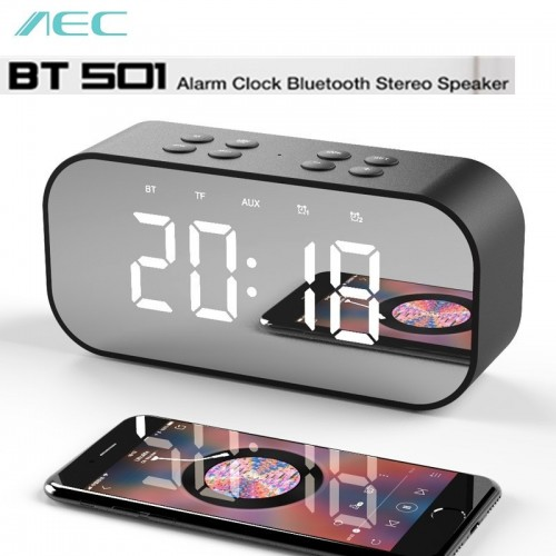 AEC BT501 Portable Wireless Bluetooth Speaker Column Subwoofer Music Sound Box LED wireless speaker with Alarm