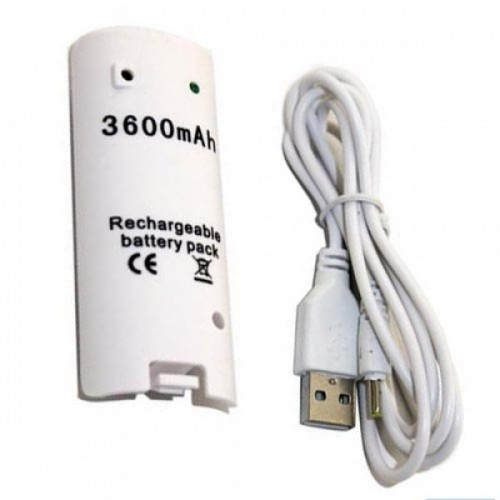 White 3600mAH Rechargeable Battery Charger Cable Remote Controller