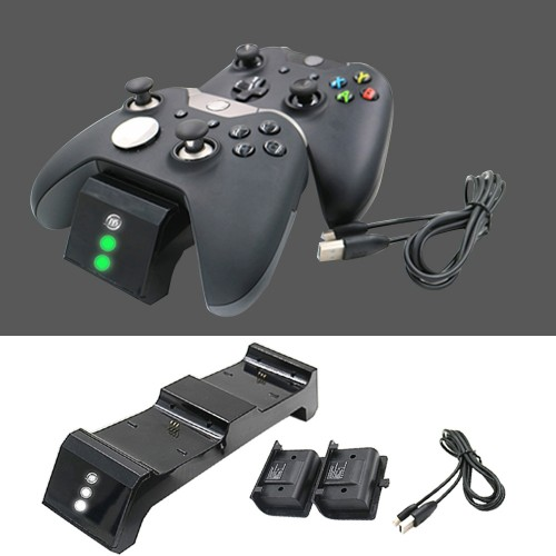 Dual Wireless Controller Charger Charging Station with Battery Pack