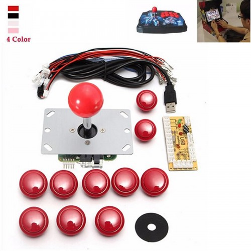 DIY Handle Arcade Set Kits Replacement Part USB Cable Encoder Board PC Joystick Push Buttons 4