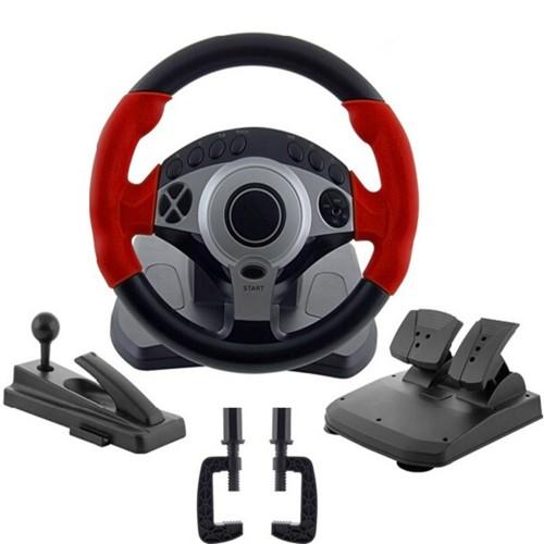900 degrees Racing game steering wheel computer learning car driving simulator belt throttle brake pedal clutch