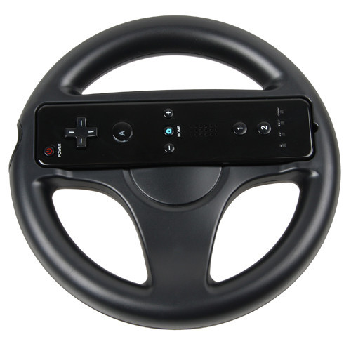 Black Mario Kart Racing Games Steering Wheel for Nintendo Wii Remote Controller