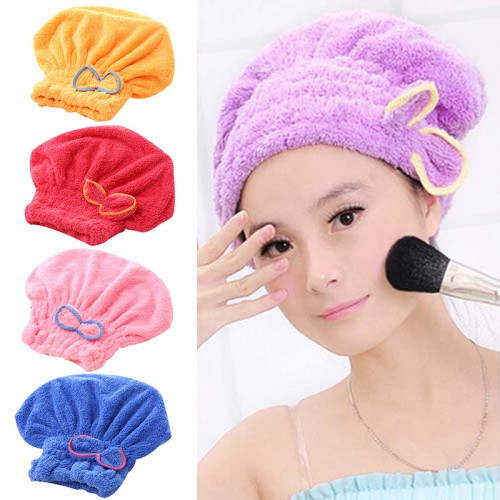 Microfiber Quick Drying Hair drying Towel Bowknot coral velvet Bath Cap Strong Water Absorption Hair Dry