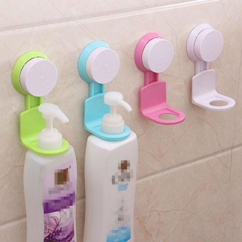 Practical Bath Shampoo Shower Gel Bottle Holder Wall Mounted Stand Suction Hanger Super Sucker Hook Shelves