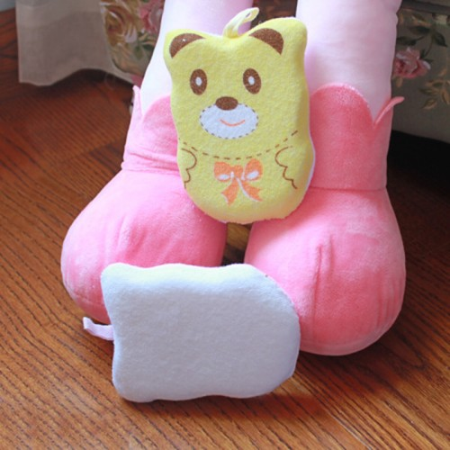 Y W F 3 Colors 1PC Baby Bath Cute Clean Bathwater Sponge Cartoon Super Soft Cotton