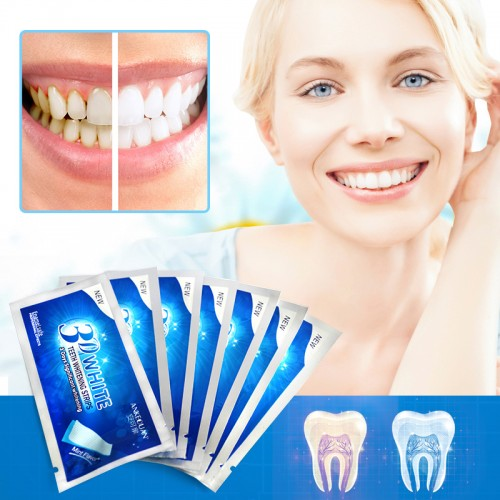 3D Whitening Gel Strips Bright White Dental Treatment Teeth Whitening Strip 7 Pair Teeth Strips Whitening