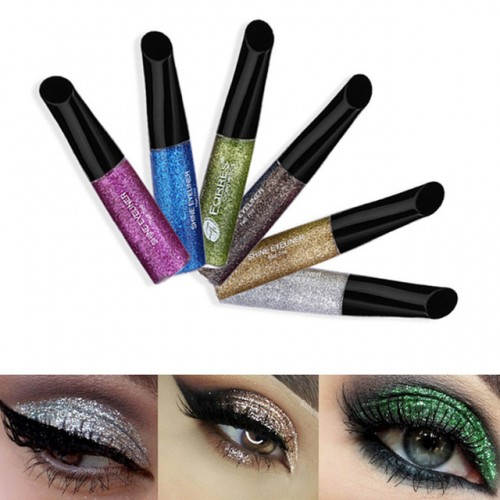 10 Colors Easy to Wear Makeup Metallic Glitter Eyeliner Liquid Long Lasting Waterproof Shimmer Shiny Pigment