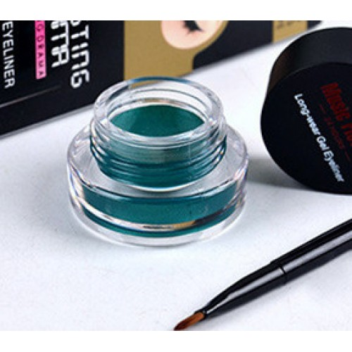 1Set Green Eyeliner Waterproof Cream with Brush Make Up Comestics Eye Liner Cream Pen Beauty Essentials.