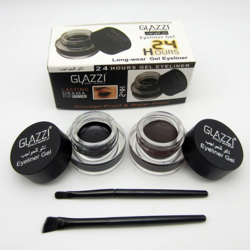 2pcs sets Professional Makeup Black Brown Eyeliner Gel Kosmetika 24 Hours Long Lasting Waterproof Eye Liner.