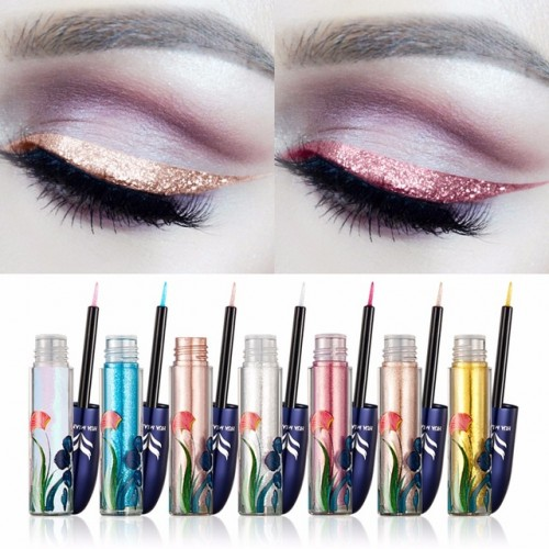 Brand HUAMIANLI Ultra shining Glitter Liquid Eyeliner Pigments Waterproof Silver Gold Blue Shimmer Eye Liner Sticker.