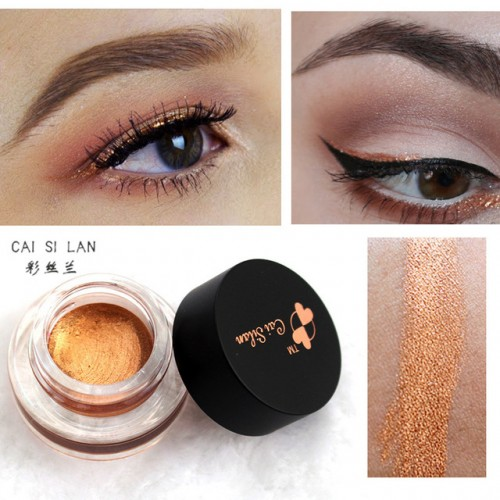 Cai Si Lan Brand Glitter Eye Liner Gel Waterproof Black Gold Eyeliner Cream Makeup Long Wear.