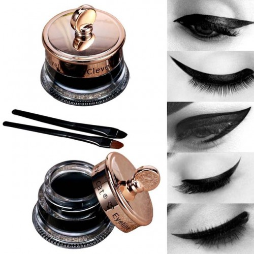 Dropship Makeup Set Long Lasting 1pcs Henna Eye Liner Gel 1pcs Make Up Brush Waterproof Black.