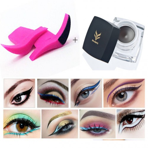 HUAMINALI 2 Pcs set Eyeliner Stamp Set Wing Vamp Stamp with Eyeliner Cream Waterproof Long Lasting.