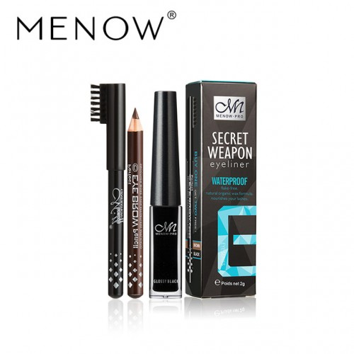 MENOW Brand Waterproof Liquid Eyeliner gift black and brown pencil Long lasting for up to 24.
