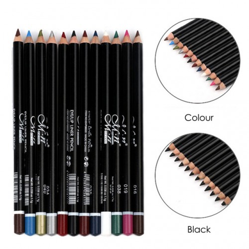 Menow 12Pcs set Waterproof Eyeliner Pencil 12 Colors Makeup Comestics Eye Liner Lip Sticks Pen Kit.