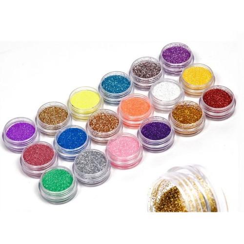 18 Colors Nail Art Glitter Powder Dust
