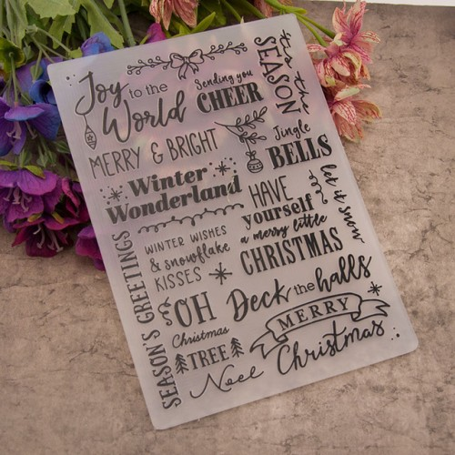 12 7x17 8cm Merry Christmas Words Embossing folders Plastic Embossing Folder For Scrapbooking DIY Photo Album