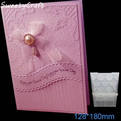 12 8 18cm Lace Stitch Textured Embossing Folder Plastic Card Making Stamps Scrapbooking Paper Craft Supplies