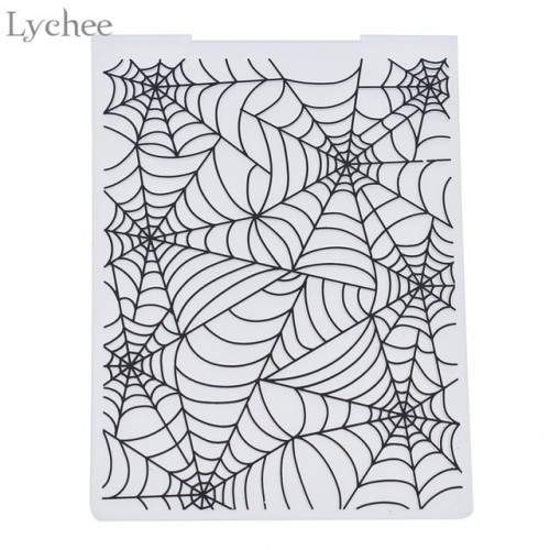 Lychee Plastic Embossing Folder For Scrapbook DIY Album Card Tool Plastic Template Stamp Spider Web Pattern
