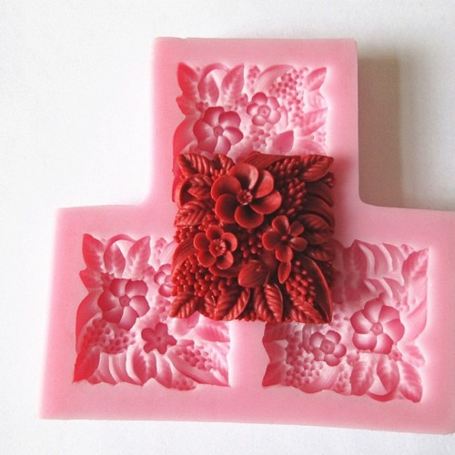 3 hole square flower Arylic Resin Flower silicone mold fondant clay molds sugar craft tools mould