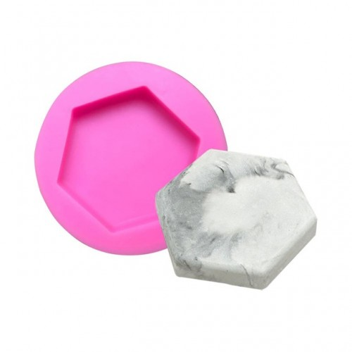 DIY Stone Plaster Mold Car Decoration Hexagonal Fruit Plates Concrete Dish Aroma Stone Mould Silicone Mold
