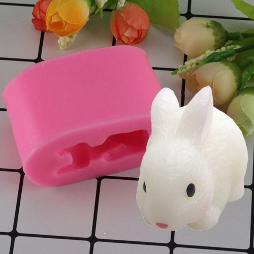 Mujiang 3D Easter Bunny Soap Silicone Molds Rabbit Candle Resin Clay Mold Chocolate Candy Mold Fondant