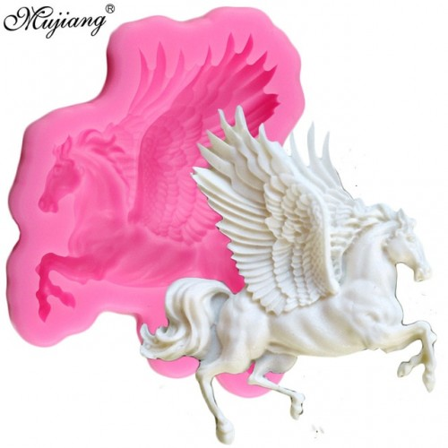 Mujiang 3D Pegasus Silicone Mold Horse Candy Chocolate Fondant Molds Sugarcraft Cake Decorating Tools Soap Fimo