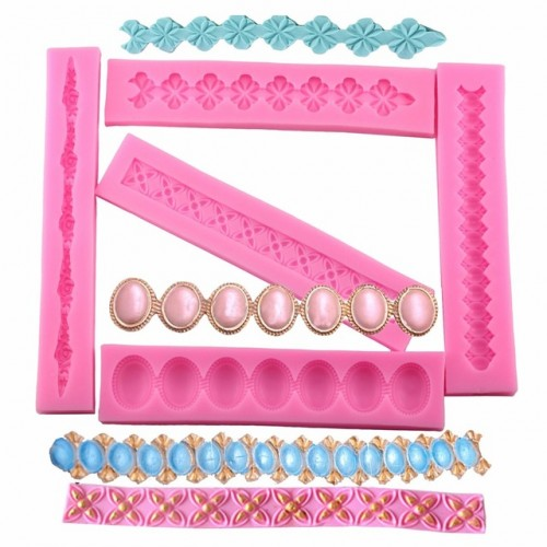Pearl Jewelry Cake Border Silicone Molds Cupcake Fondant Cake Decorating Tools Gum Paste Chocolate Clay Candy