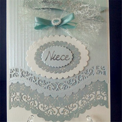 6PCS Vintage Lace Embrossing Curved Wavy Border Edge Metal Cutting Dies Embossing Scrapbooking Paper Card Making