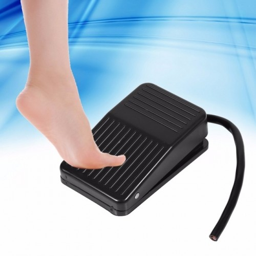 1pc 220V 10A Electrical Power Plastic Foot Pedal Switch On Off Control Black Color 10cm Cord