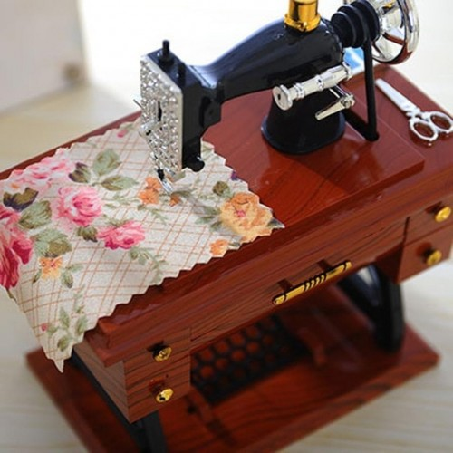 Vintage Music Box Mini Sewing Machine Style Mechanical Birthday Table Decor Drop