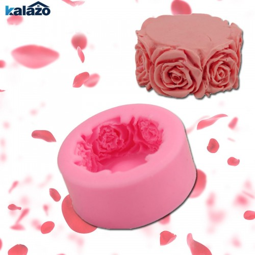 1pc Beautiful Round Rose Flowers Silicone Soap Mold Multifunction Candle Molds Cake Candy Baking Mould DIY